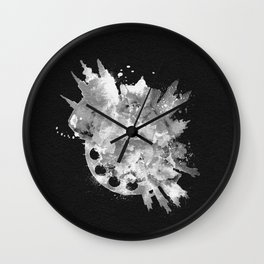 Prague, Czech Republic Black and White Skyround / Skyline Watercolor Painting (Inverted Version) Wall Clock