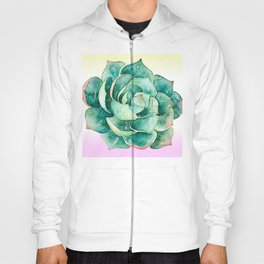Luxurious Watercolor Succulent On Lilac Cream Background Hoody
