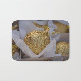 Golden Christmas Balls Bath Mat