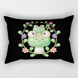 Animal family cute frogs with flowers Rectangular Pillow
