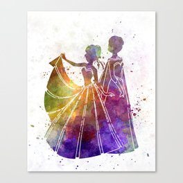 Elsa The Snow Queen and Anna in watercolor Canvas Print