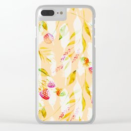 Spring Flowers and Feathers Pattern Clear iPhone Case