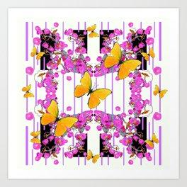 White Color Yellow Butterflies & Pink Flowers Black Art Print