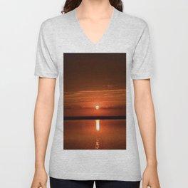 sunset over the lake Unisex V-Neck