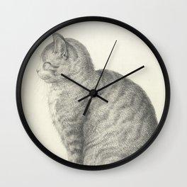 Vintage Cat Illustration, 1815 Wall Clock