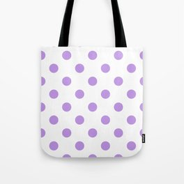 Polka Dots - Light Violet on White Tote Bag