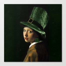 Girl With A Shamrock Earring Canvas Print