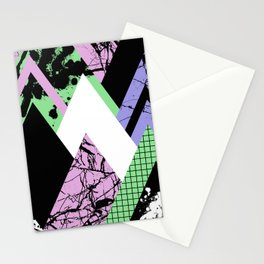 Textured Points - Marbled, pastel, black and white, paint splat textured geometric triangles Stationery Cards