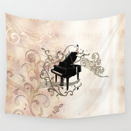 Music, piano with key notes and clef Wall Tapestry