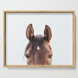 peekaboo horse, bw horse print, horse photo, equestrian, equestrian photo, equestrian decor Serving Tray