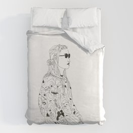 girl with record plastic bag Duvet Cover