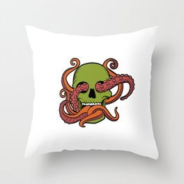 Unique Death Metal Tee With Illustration Of A Skull And Octopus T-shirt Design Sub Genre Trash Black Throw Pillow