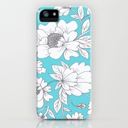 Floral in Turquoise iPhone Case