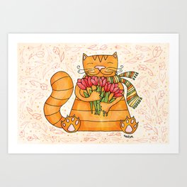 Cat with tulips Art Print