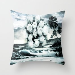 Sea and roses in black and white Throw Pillow