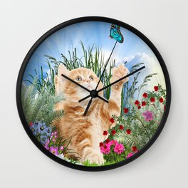 Ginger Kitten Playing with a Butterfly Wall Clock