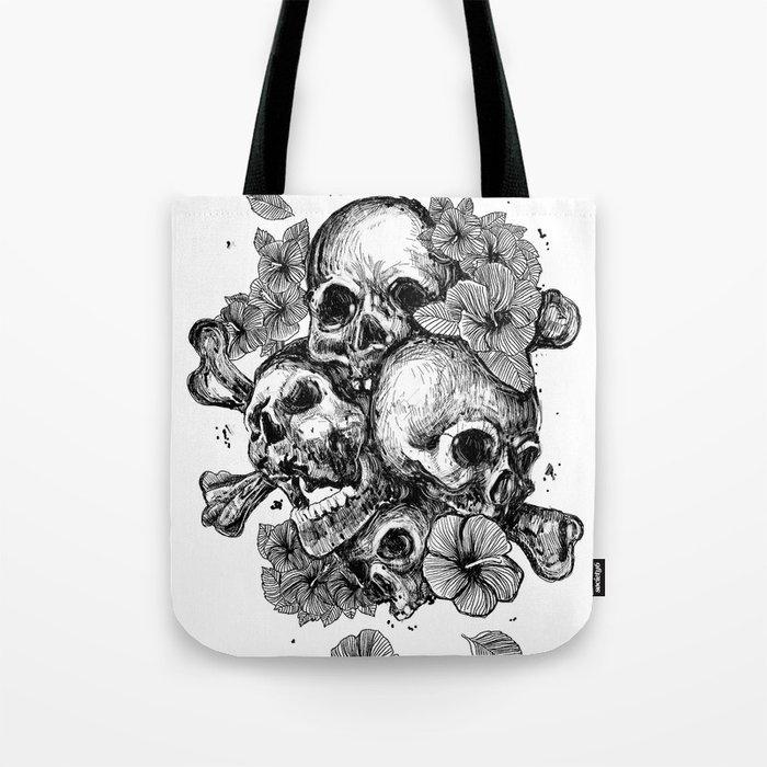 skulls&hibiscus Tote Bag