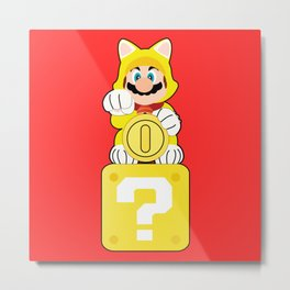 Lucky Cat Mario Metal Print