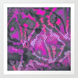 Fuchsia and Gray Snakeskin Art Print