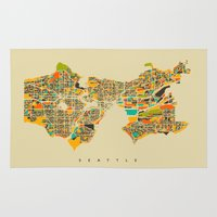 seattle Area & Throw Rugs featuring Seattle by Nicksman