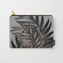 Gray Black Palm Leaves with Rose Gold Glitter #1 #tropical #decor #art #society6 Carry-All Pouch
