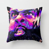 nba Throw Pillows featuring JAMES HARDEN: NBA ILLUSTRATION V2 by mergedvisible