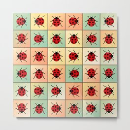 Ladybugs pattern Metal Print