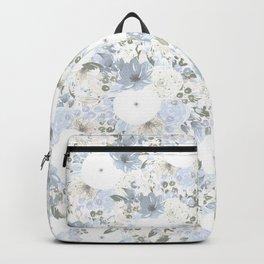 Light Blue Floral Pattern Backpack