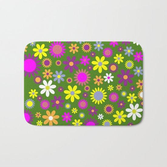 Multicolored Flower Garden Pattern Bath Mat