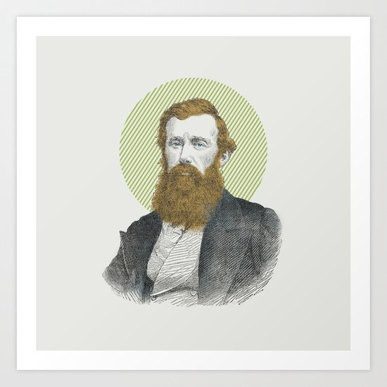 Blue Eyes, Red Beard, Gray Suit Art Print