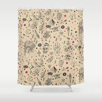 tattoos Shower Curtains featuring Hand Drawn Flash Tattoos by PunkRockPlanet