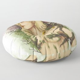 """Watercolor Painting of Picture """"Profile Woman"""" Floor Pillow"""
