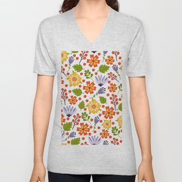 Sunshine yellow lavender orange abstract floral illustration Unisex V-Neck