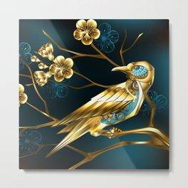 Steampunk Bird with Sakura Metal Print