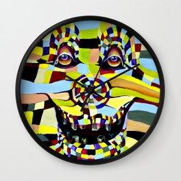 Watercolor Painting Crazy Clown  Wall Clock
