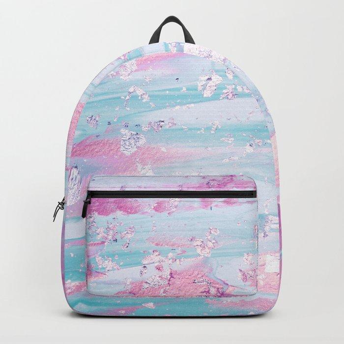 Shine Shimmer Pastel Pink and Blue Modern Backpack