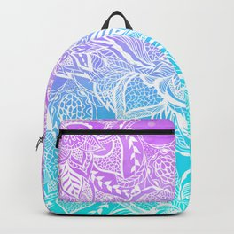 Modern purple turquoise mermaid watercolor floral white boho hand drawn pattern Backpack