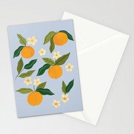 Gouache Oranges Blue Stationery Cards