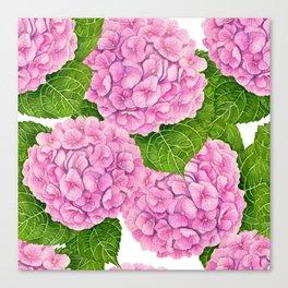 Hydrangea waterolor pattern Canvas Print