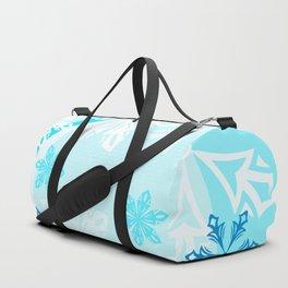 Blue Flower Art Winter Holiday Duffle Bag