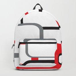 Red Black Gray Retro Square Pattern White Backpack