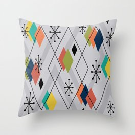 Mid Century Modern Scattered Diamonds Gray Multicolored Throw Pillow
