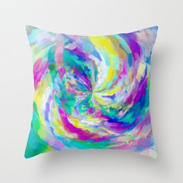 colorful splash painting abstract in pink green blue yellow Throw Pillow