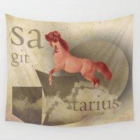 sagittarius Wall Tapestries featuring sagittarius by Rosa Picnic