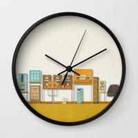 budapest hotel Wall Clocks featuring The Grand Budapest Hotel  by Daniel long Illustration