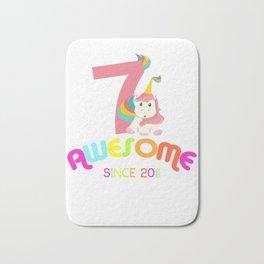 Awesome Since 2011 Unicorn 7th Birthday Anniversaries Bath Mat