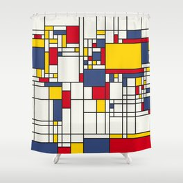 World Map Abstract Mondrian Style Shower Curtain
