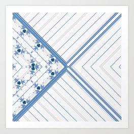 Decorative Multi Pattern Soft Blue Design Art Print