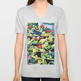 Watercolor Primroses on Wrinkled Paper Unisex V-Neck