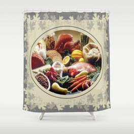 Thanksgiving Dinner and Autumn Decoration. Shower Curtain